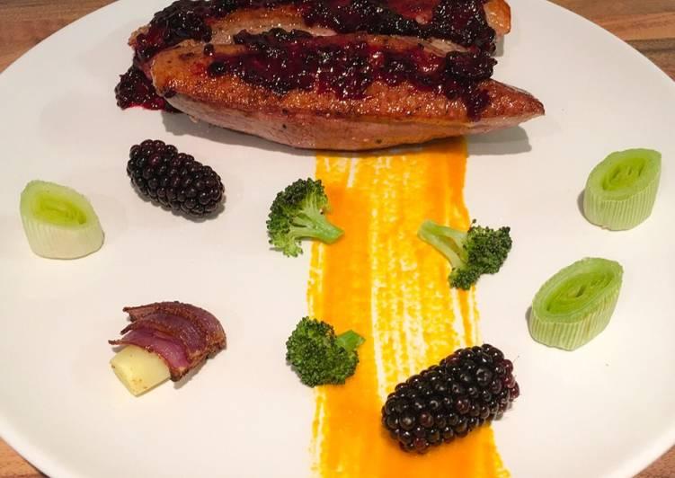 Sous vide duck breast, blackberry sauce, roasted vegetables
