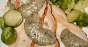 Roasted Turkey Breast, Tarragon Gravy, Blanched And Sautéed Brussels Sprouts,