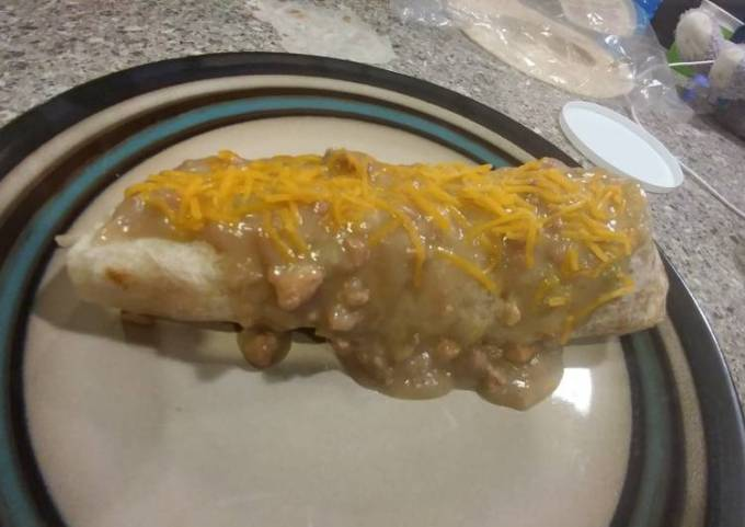 Smothered Green Chile Steak burritos