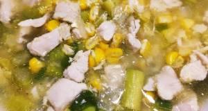 Sup asparagus ayam telur kocok