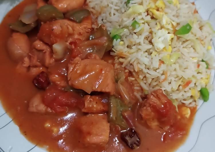 Shashlik with Chinese fried rice