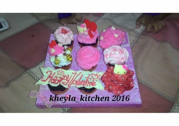 Brownies Cup Cake Valentine Lembut n Nyoklat (no mixer, no oven)