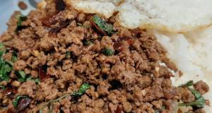 My Version Of Thai Basil Beef (Pad Ka Prao) With Dried Chillies, Topped With Fried Eggs