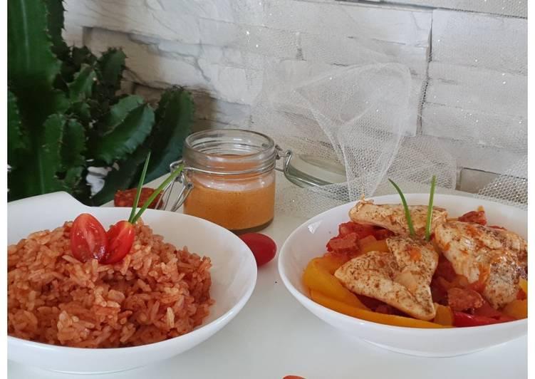 Poulet basquaise, riz cuisiné & crème de chorizo
