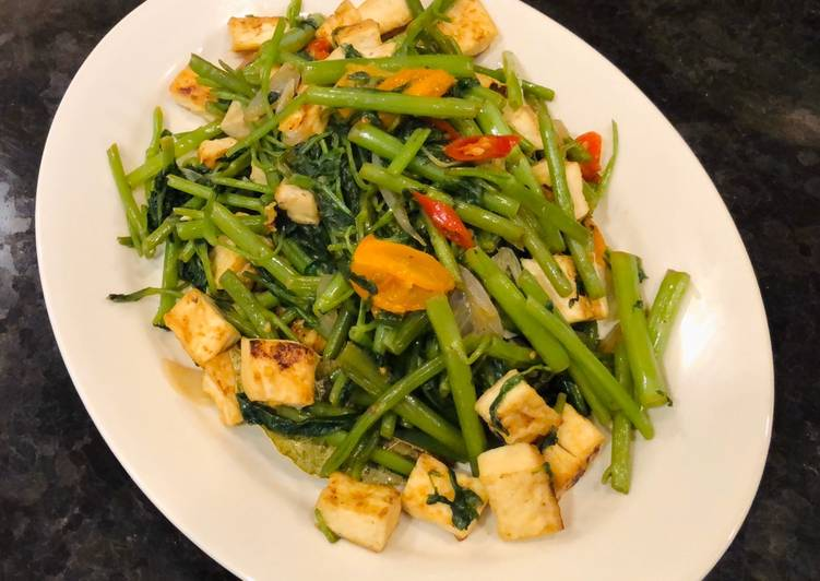 Sautéed Water Spinach & Tofu (Tumis Kangkung & Tahu)