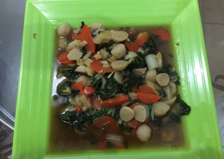 Cah Sayuran campur Bakso Ikan+Hekeng