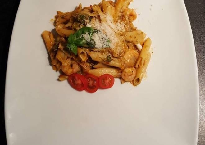 Prawny pesto pasta