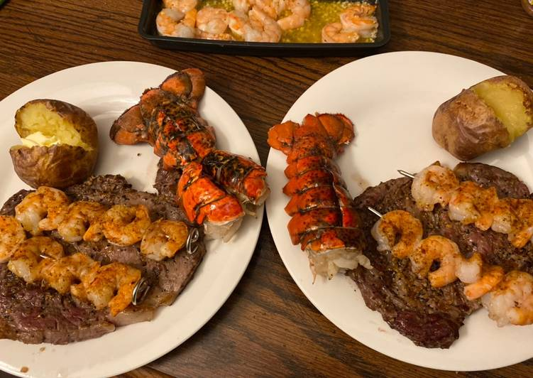 Steak, lobster, shrimp (date night series)