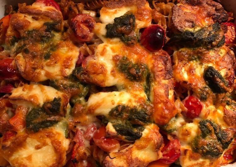 Haloumi, pesto and autumn veg pasta