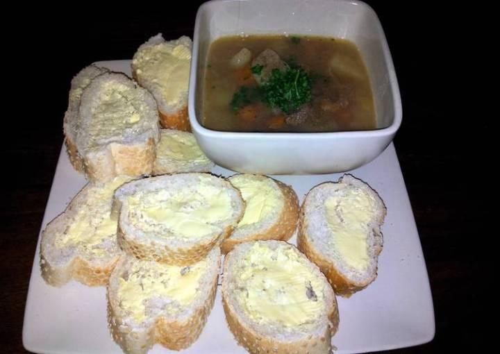 Diced steak and veg soup