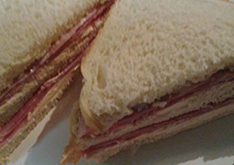 Ham and smoked salmon cream cheese sandwich