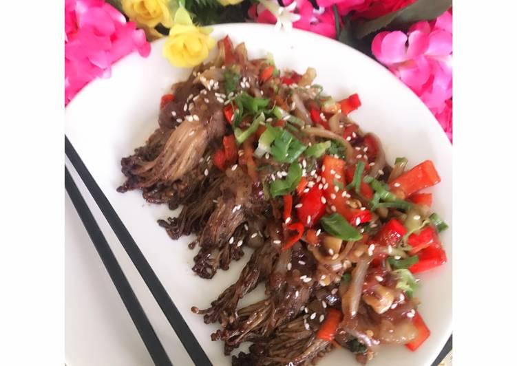 Jamur enoki gulung daging sapi