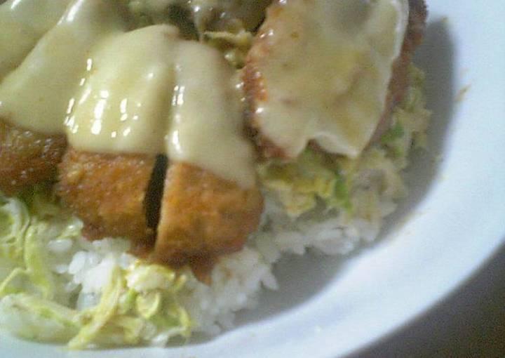 Easy Cheese Pork Katsu Rice Bowl