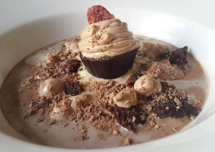 Chocolate soup with brownie croutons and mousse dessert