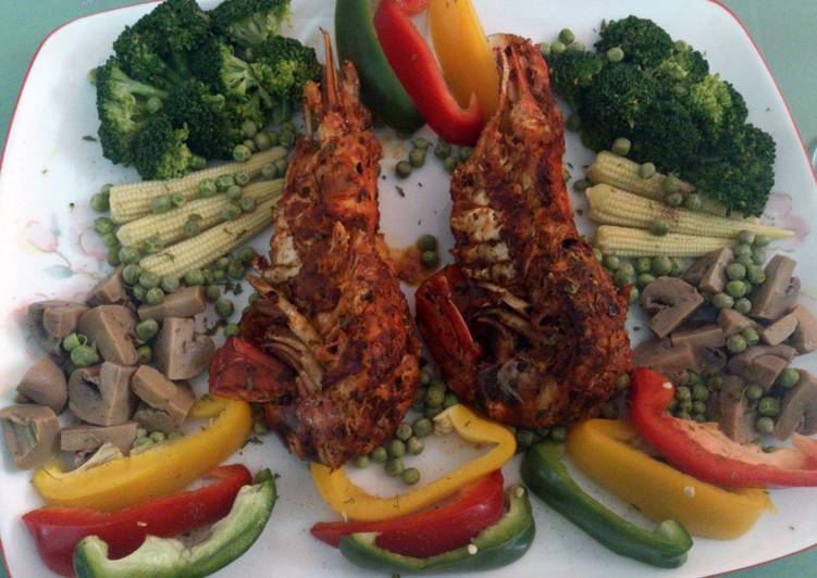 pan fried lobster with veggies