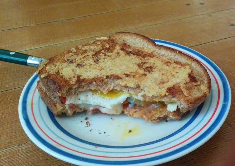 Grilled Cheese with Fried Egg and Salsa