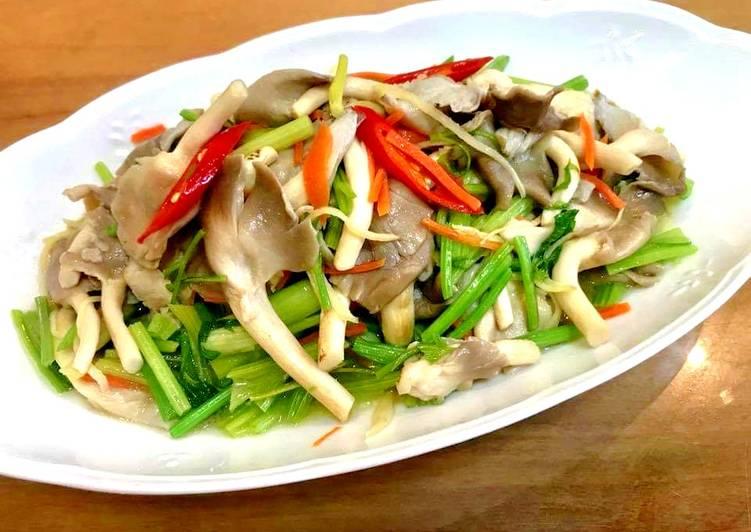 魏鈺娟(娟娟廚房創意料理) 發表的 芹菜炒袖珍菇 食譜 - Cookpad