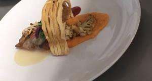 Bourbon chicken breast /cherry glaze /veloute sauce / puff pastry lattice