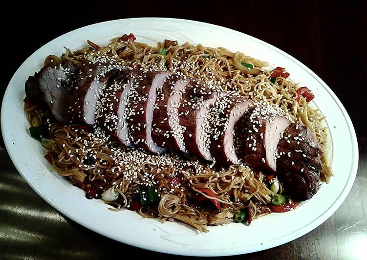 Asian Roasted Pork Tenderloin on Soba Noodles