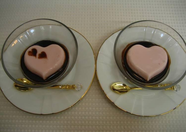 Couple's Pink Heart Gelatin Dessert For Valentine's Day