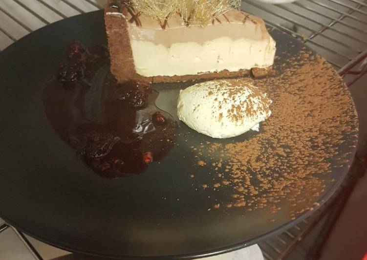 Choclote Chambord &Baileys cheesecake served with spun Toffee