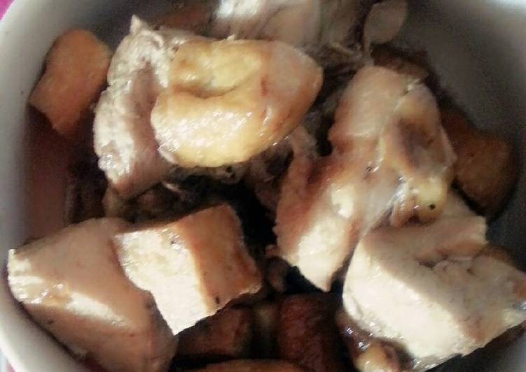 Chicken adobo with fried tofu