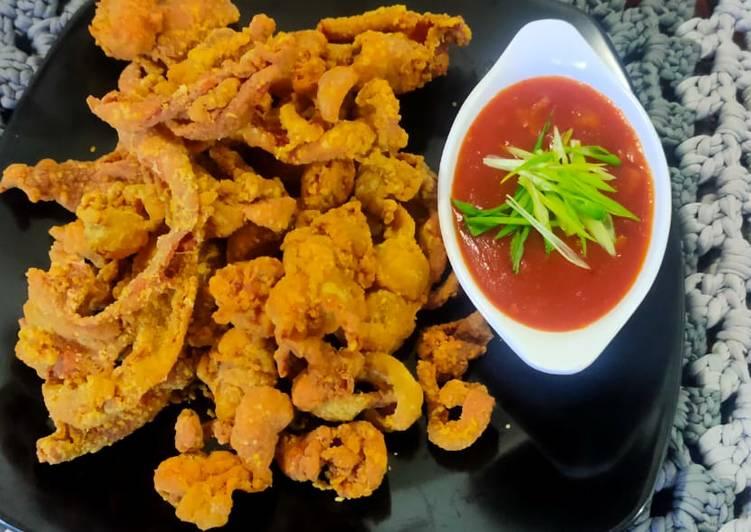 Chicken skin crispy saus gochujang