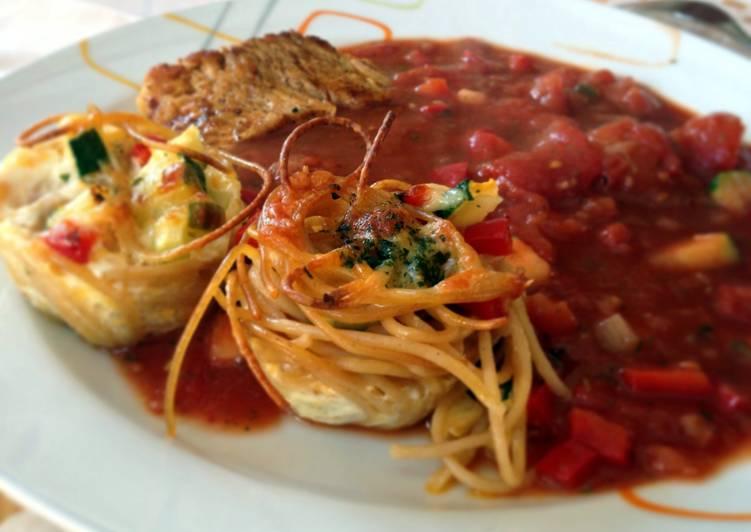Pasta Nests With Mediterranean Veggies