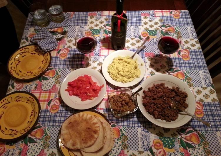 Mediterranean Pita Dinner, homemade: hummus, ground lamb and olive pate.