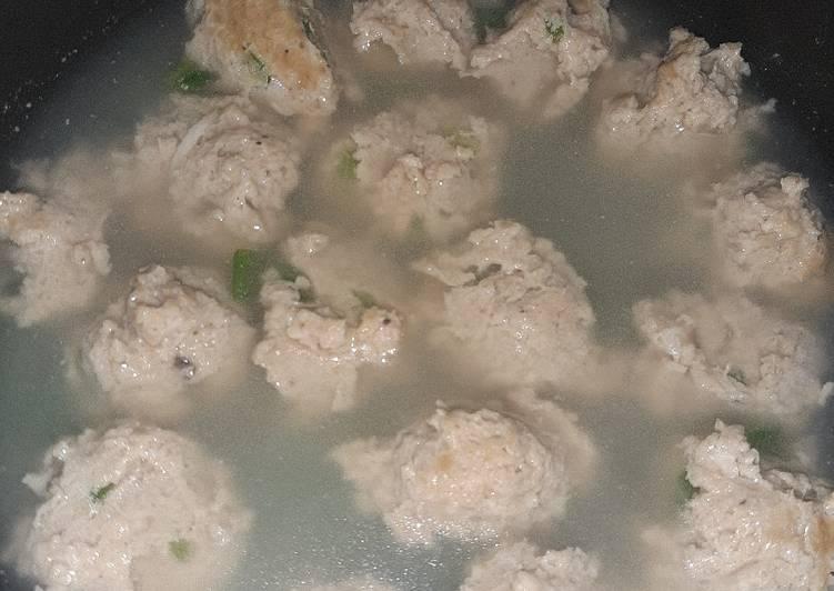 Bakso Ayam dengan OAT (tanpa tepung)