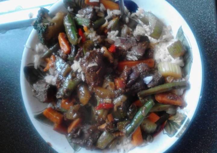 Beef stir fry w rice