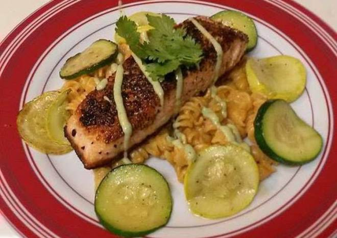 Spicy-Sweet Salmon With Avocado Sauce