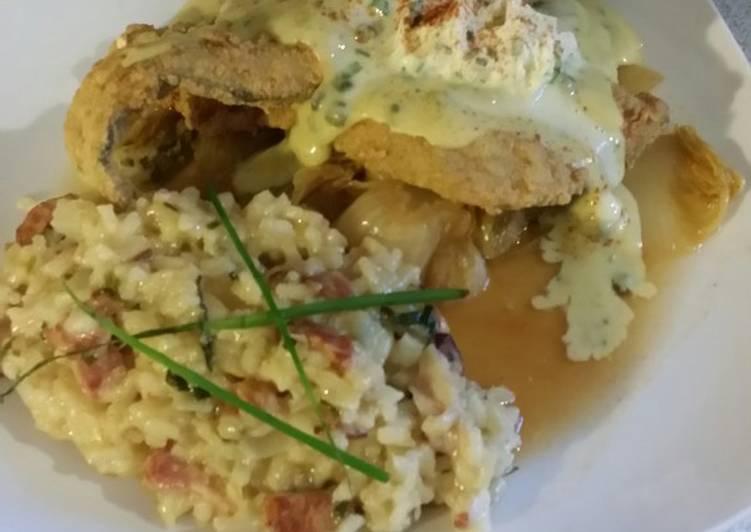 Brad's fried trout w/ lemon caper bernaise sauce & bacon risotto