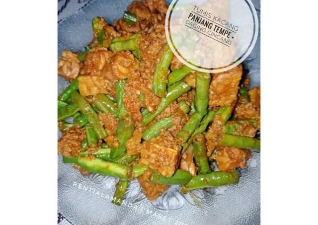 Tumis Kacang Panjang Tempe + Daging Cincang