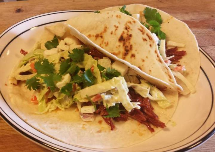 Spicy Corned Beef Tacos with an Avocado Dressing Coleslaw