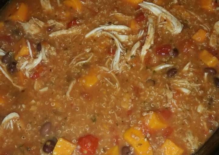 Quinoa, sweet potato, chicken soup!