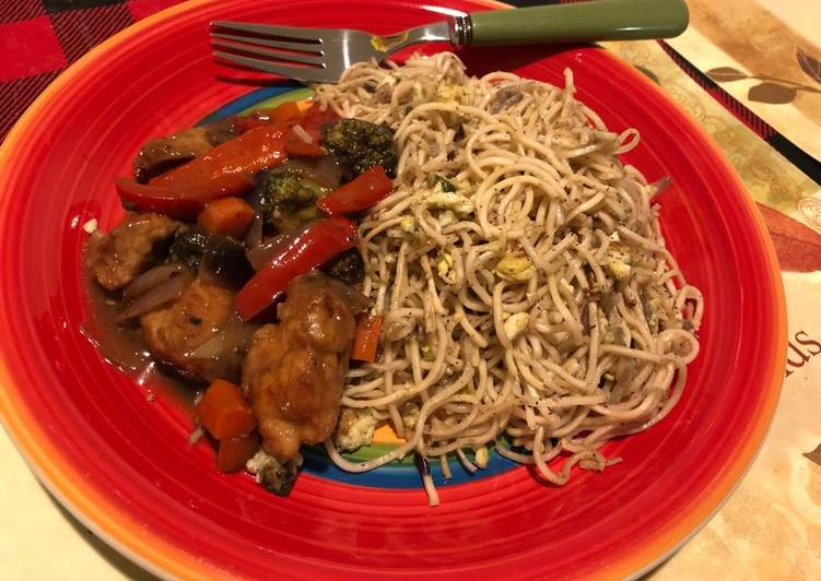 Chicken chilli with pepper fried noodles (home-made)