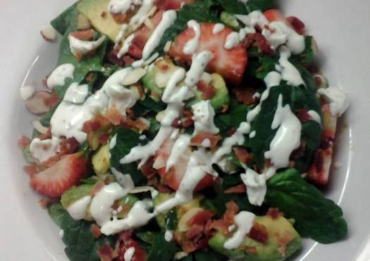 Bacon Avacado & Spinach Salad with Yogurt Lime Poppyseed Dressing