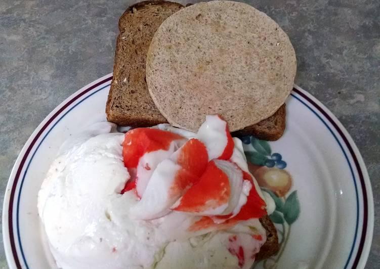 Mile-High Mozzarella and crab sandwich