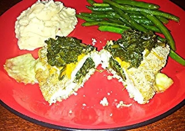 DJ one's mozzarella spinach stuffed chicken breast