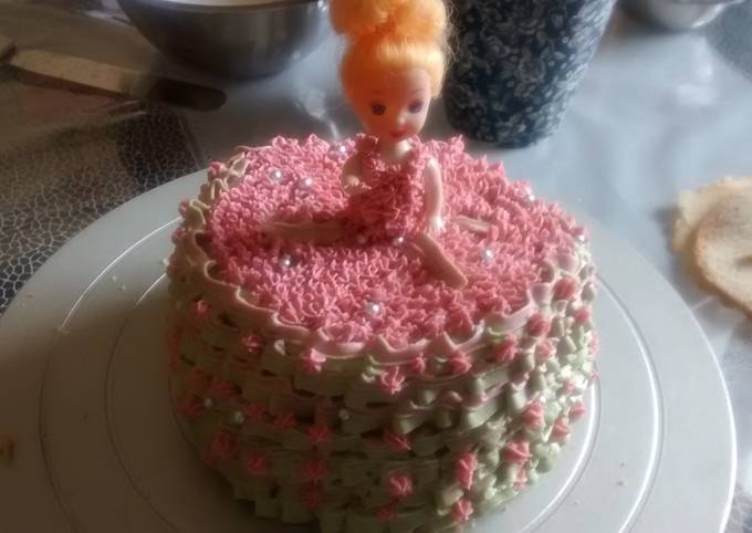 Barbie doll shaped cake in blue dress, which is decorated with blue roses. Barbie Doll Cake Recipe By Reshma Kiran Cookpad
