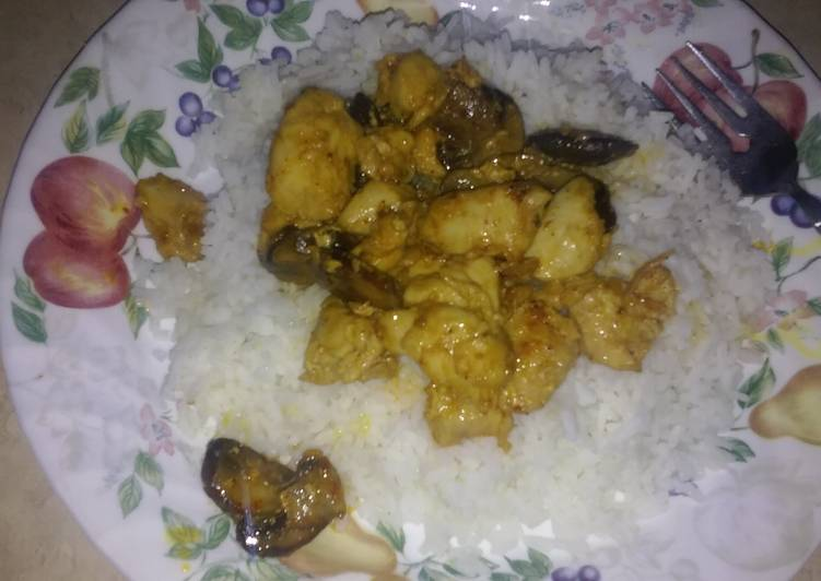 Sweet n sour chicken and mushrooms