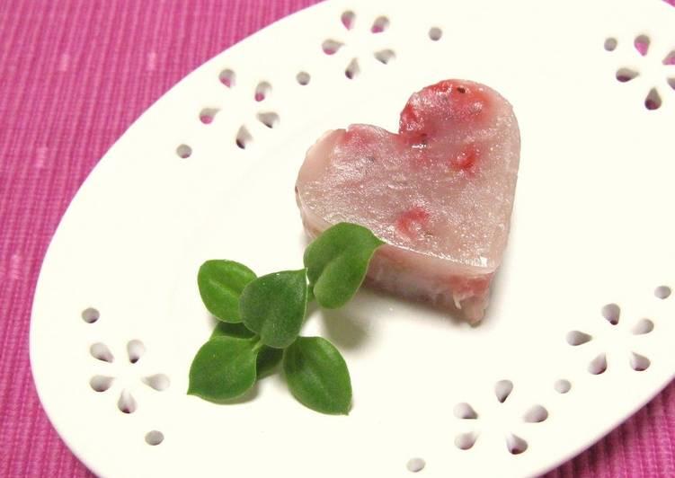 Heart-Shaped Strawberry Adzuki Bean Jello for Valentine's Day