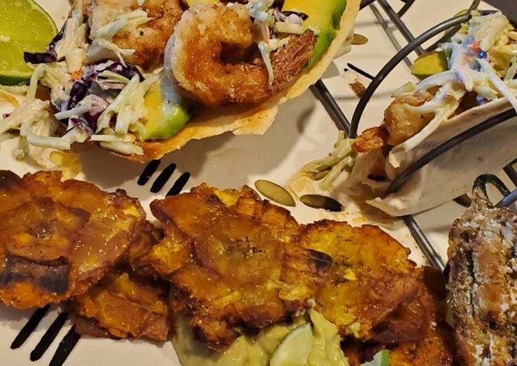 My Salt and Pepper Shrimp Taco with Tostones and Garlic Aioli