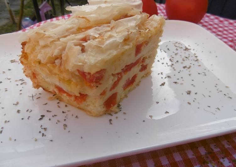 Feta and Tomato Creased Phyllo Cheese Pie Patsavouropita
