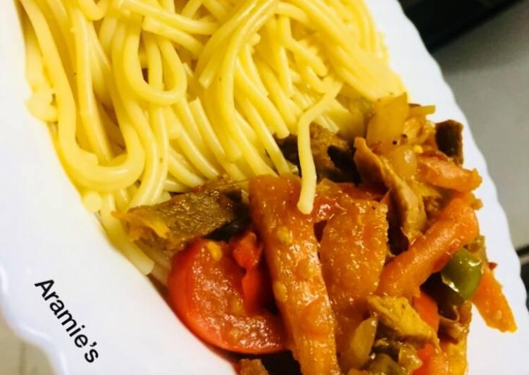 Pasta with beef stir fry