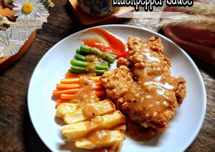 Chicken steak with blackpepper sauce