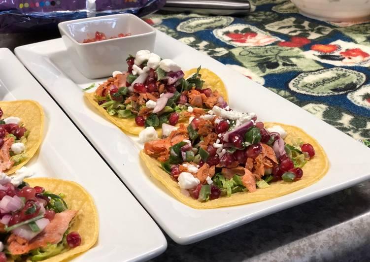 Grilled Salmon Tacos w/ Jalapeño Pomegranate Salsa