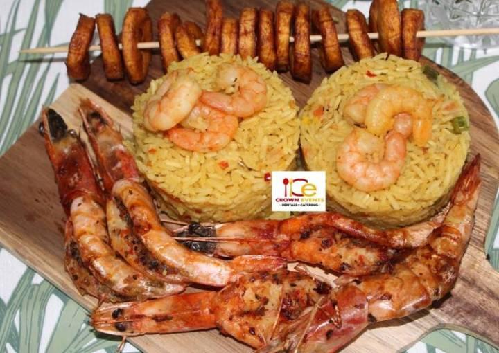 Plantain shrimp rice