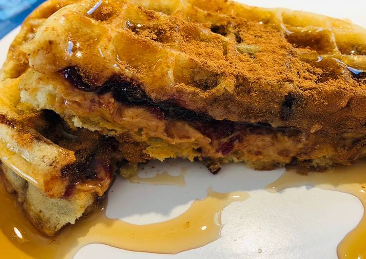 Peanut 🥜 Butter Jelly Waffles 🧇